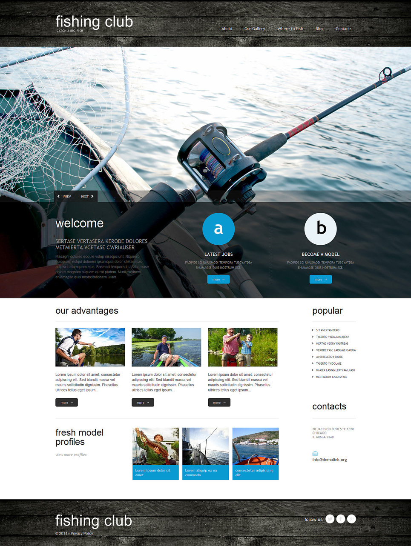 Адаптивный шаблон сайта на тему рыбалка #51297