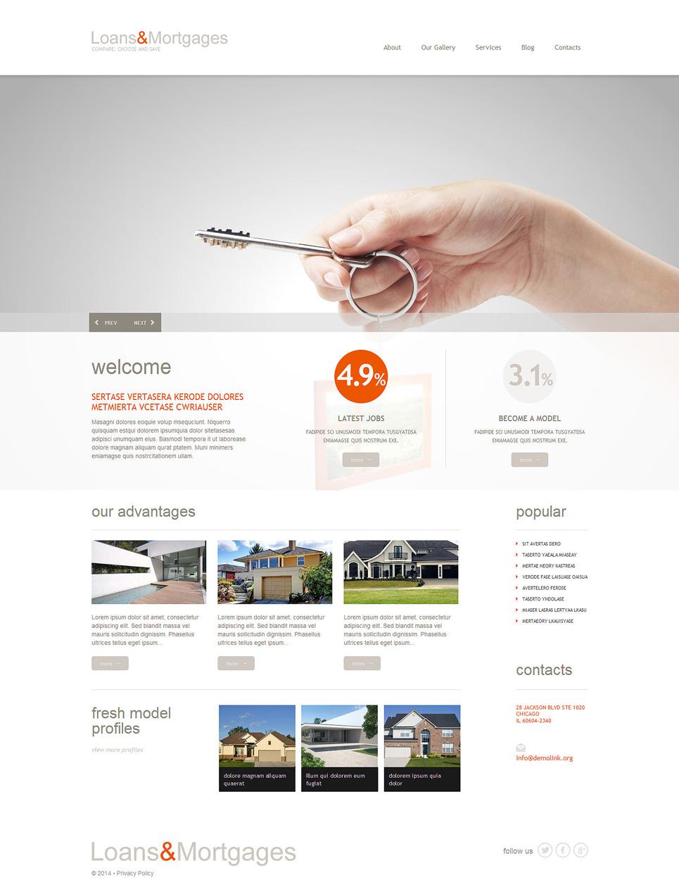 Адаптивный шаблон сайта на тему ипотека #51299