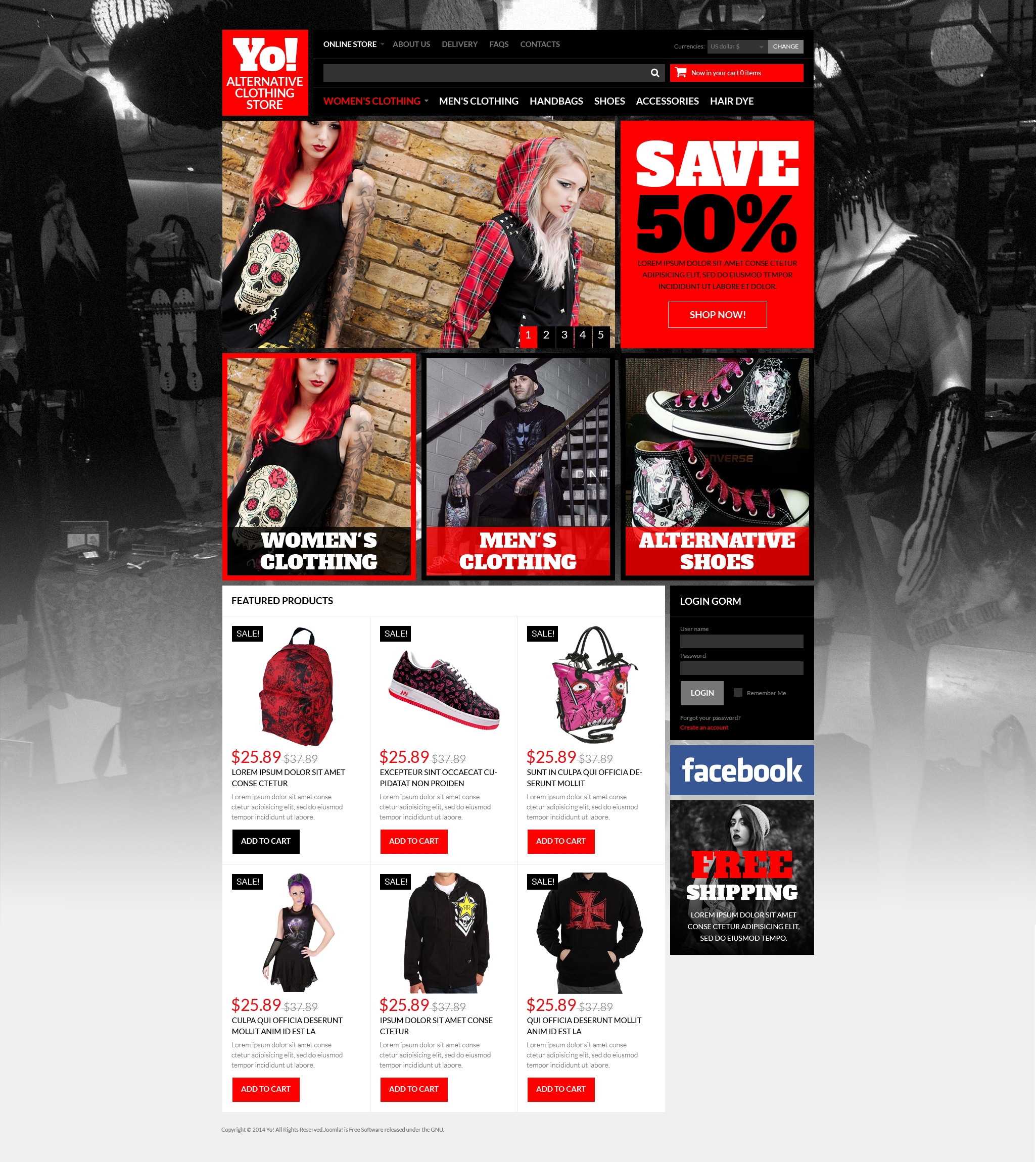 Alternative Clothing Store VirtueMart Template