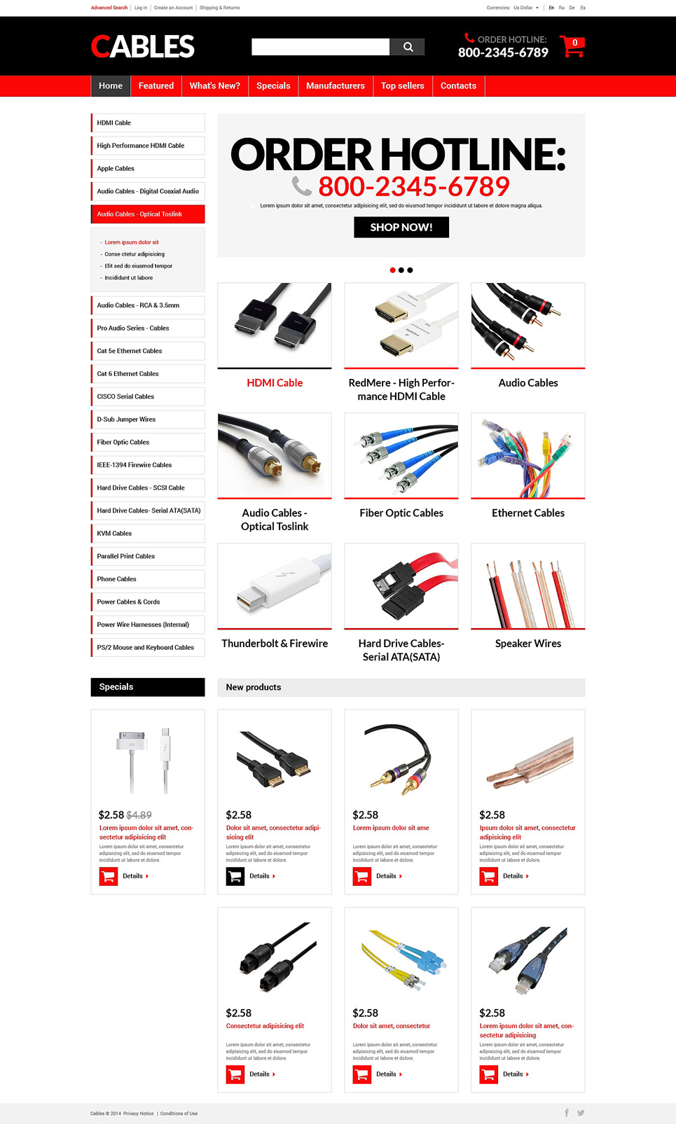 Cords Wires Store OsCommerce Template New Screenshots BIG