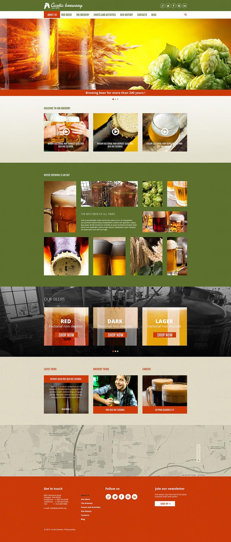 Curtis Brewery Joomla Template New Screenshots BIG