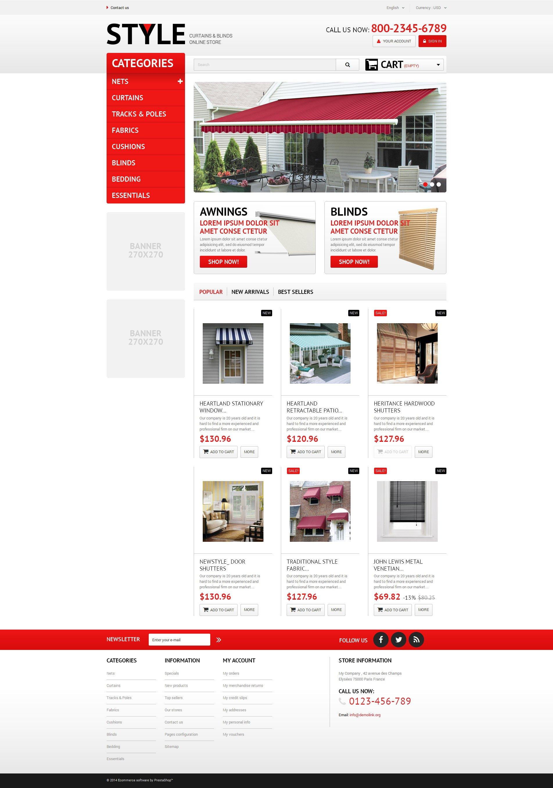 """ecommerce style curtains blinds wood venetian window-blind shutters roller shopping cart store shop servicescurtais blinds"" 响应式PrestaShop模板 #51275 - 截图"