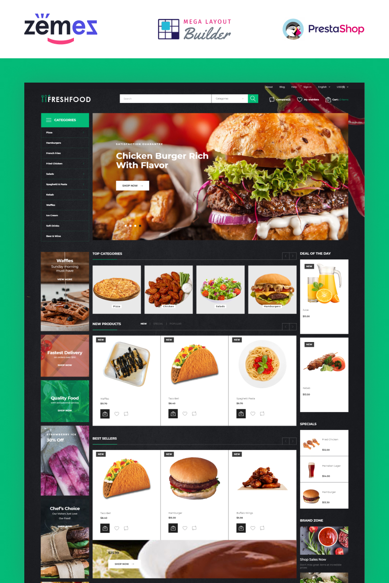 """Freshfood - Food Store Template"" - адаптивний PrestaShop шаблон №51255"