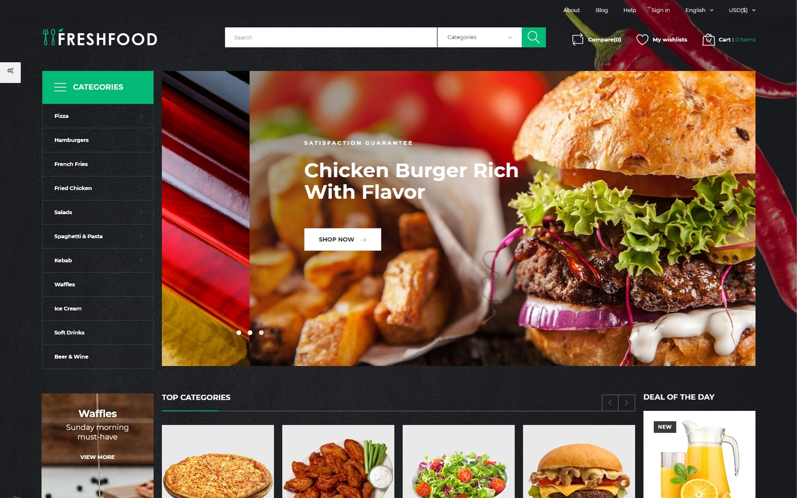 """Freshfood - Food Store Template PrestaShop Theme"" Responsive PrestaShop Thema №51255"