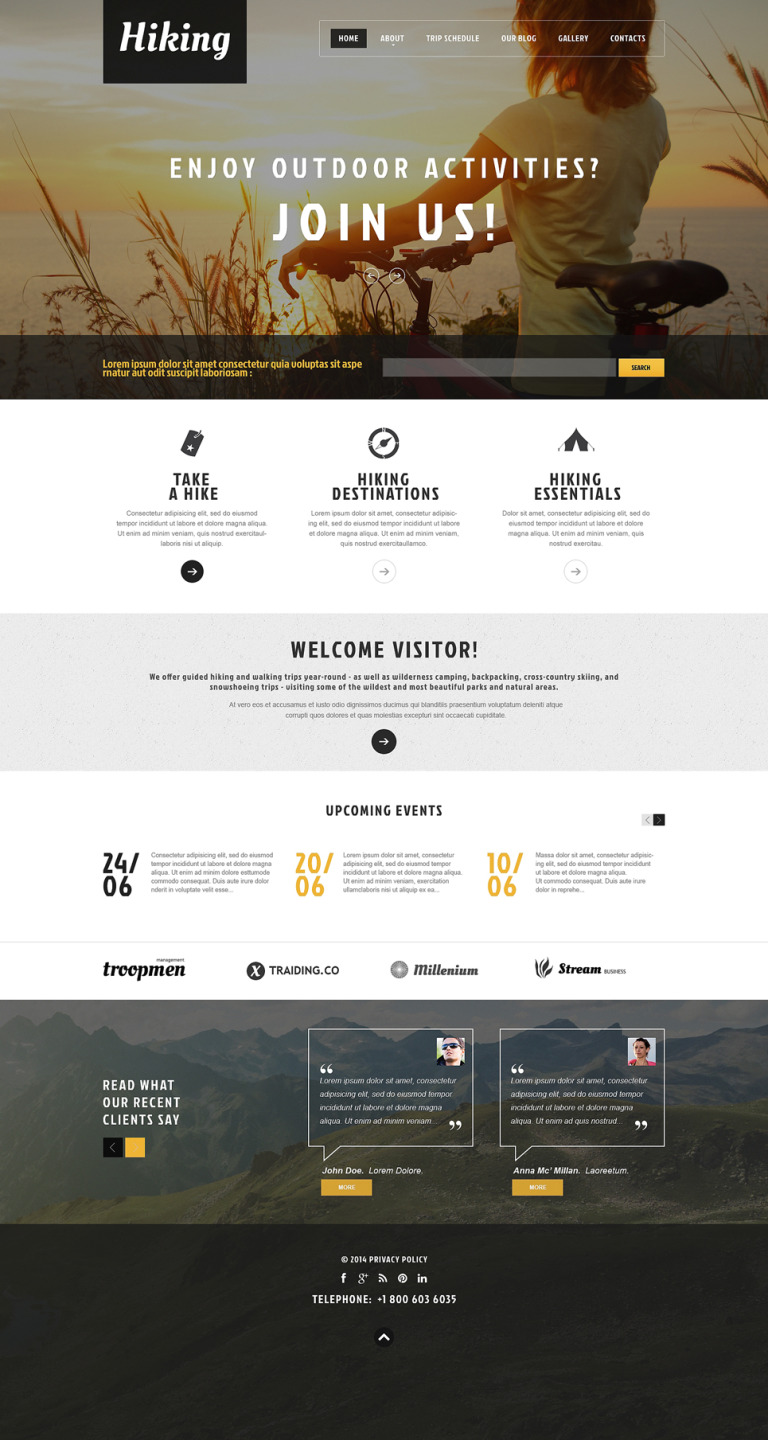 Hiking Club Promotion WordPress Theme New Screenshots BIG