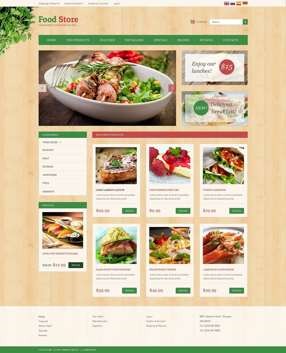 Home Restaurant OsCommerce Template New Screenshots BIG