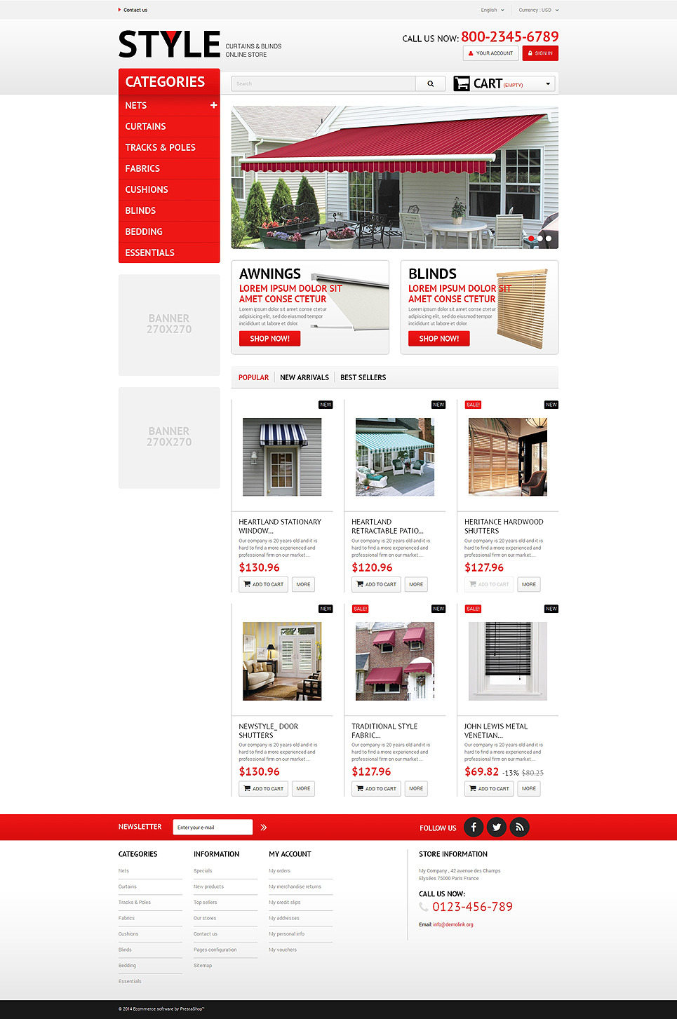 Interior Blinds and Curtains PrestaShop Theme New Screenshots BIG