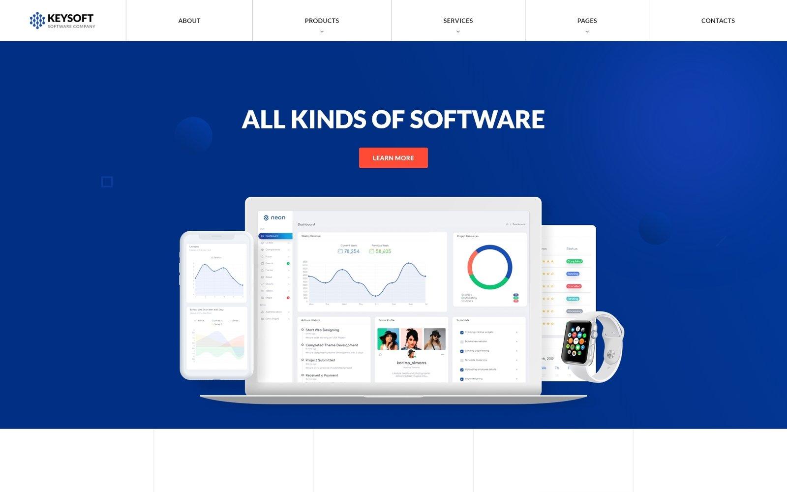 """Keysoft - Software Company Creative Multipage HTML"" - адаптивний Шаблон сайту №51277"