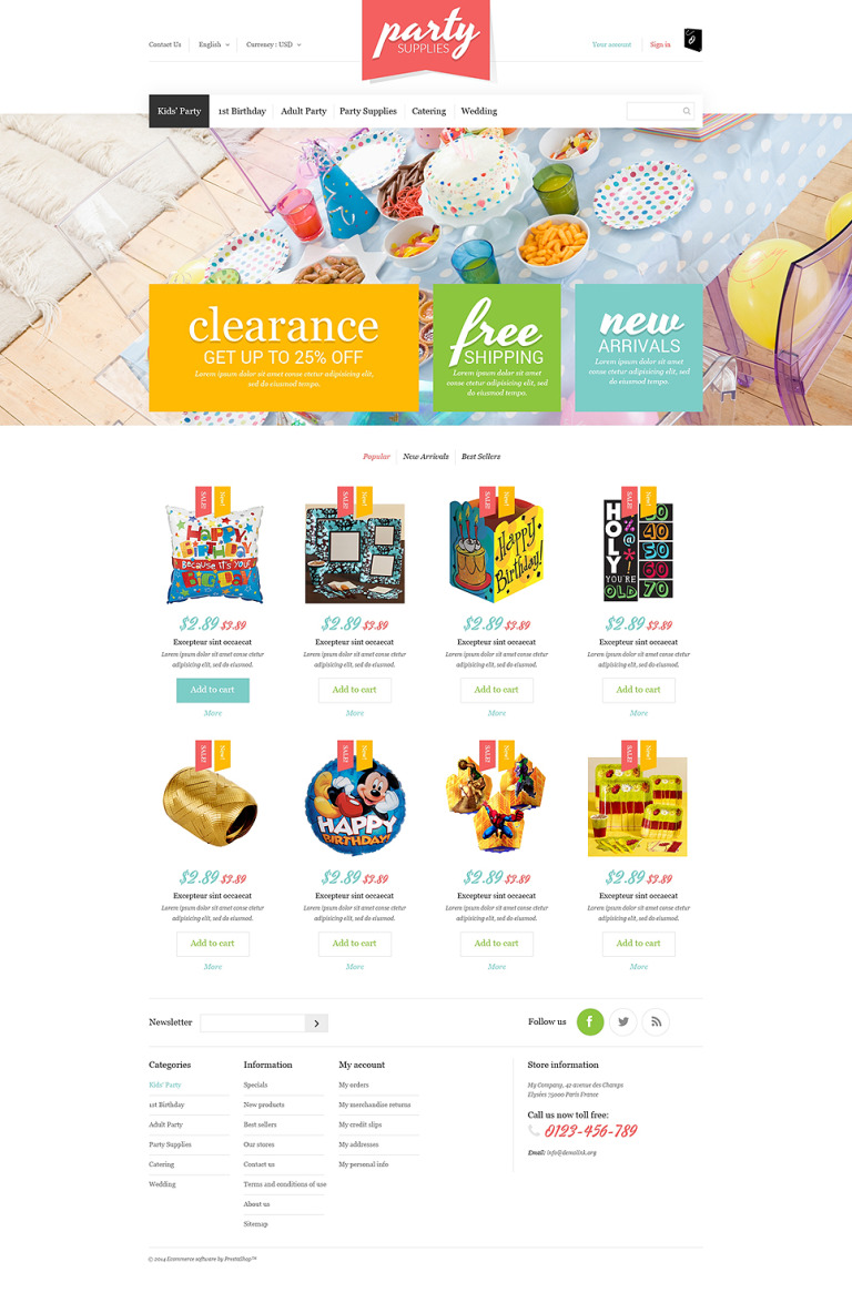 Kids Party Supplies PrestaShop Theme New Screenshots BIG