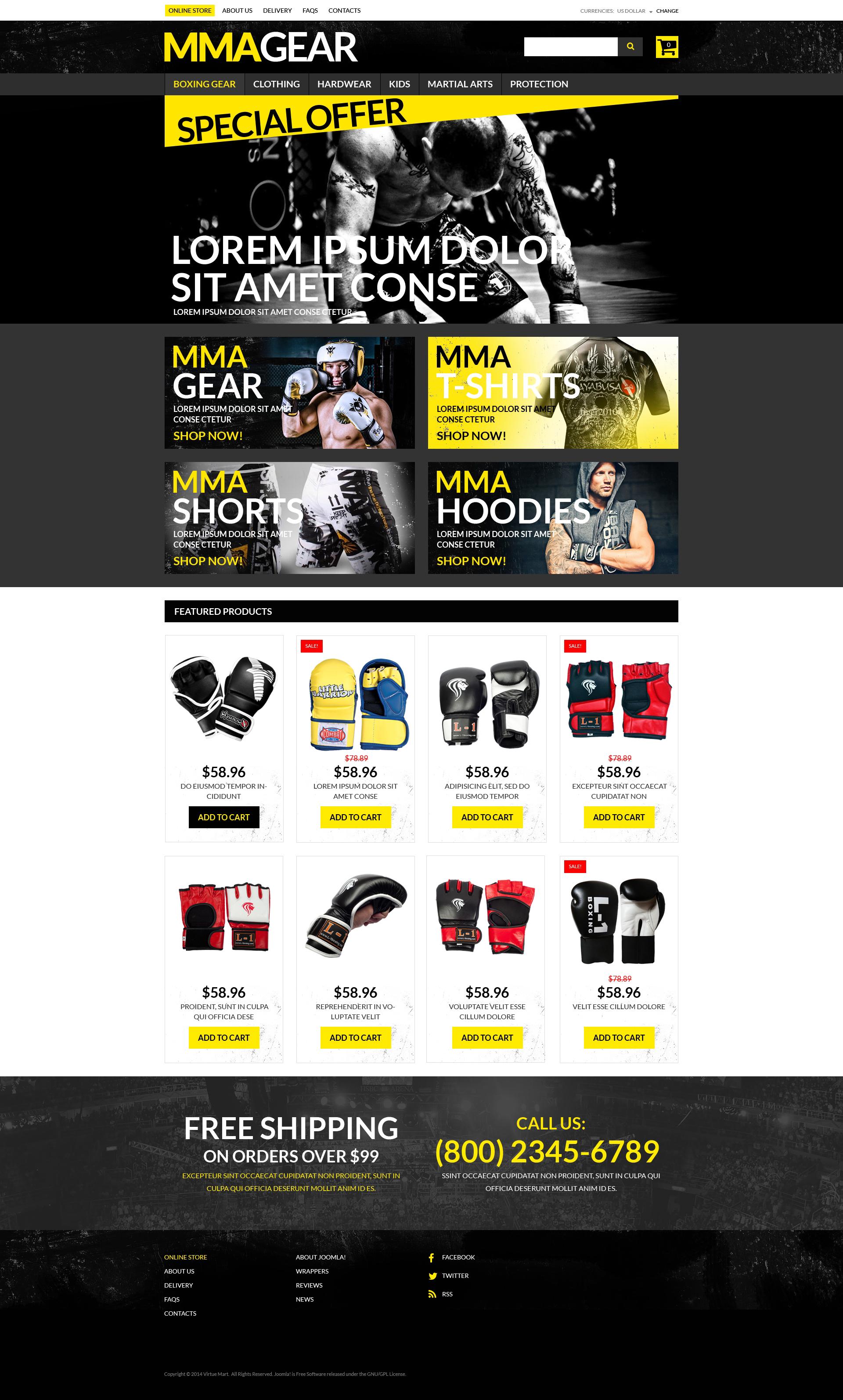 """MMA Gear Store"" VirtueMart Template №51234"