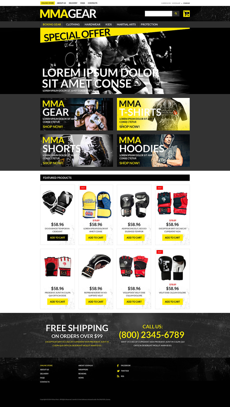 MMA Gear Store VirtueMart Template New Screenshots BIG