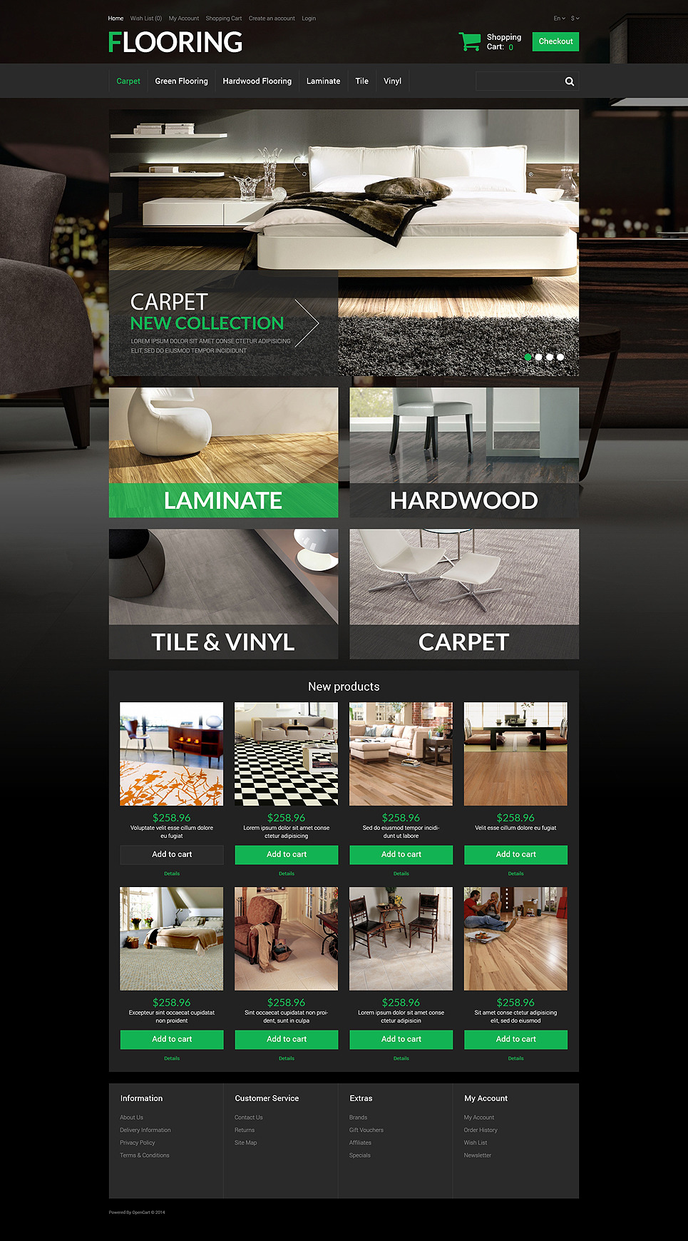New Flooring OpenCart Template New Screenshots BIG