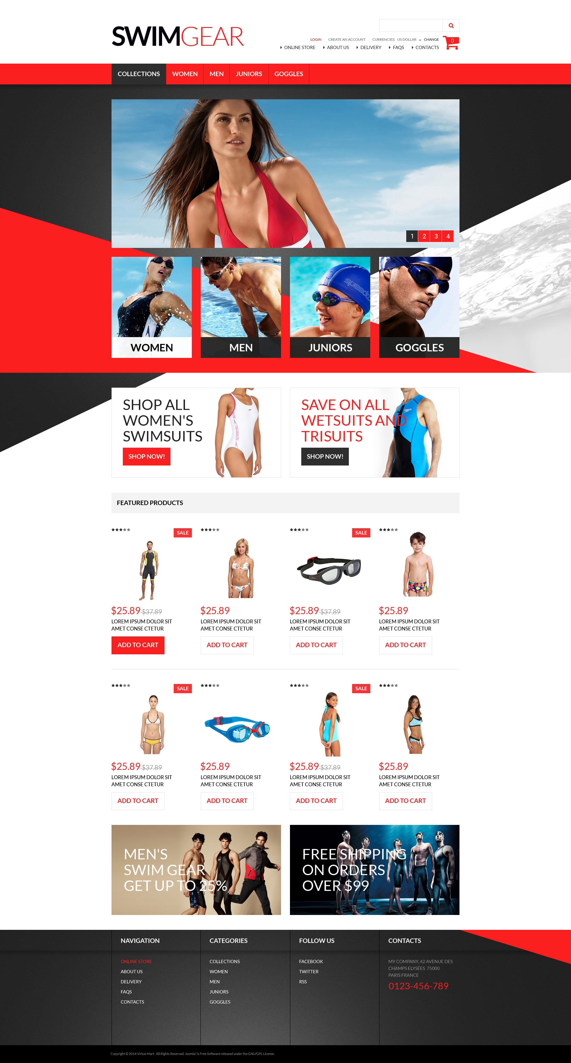 "Plantilla VirtueMart ""Swimwear Gear"" #51256"