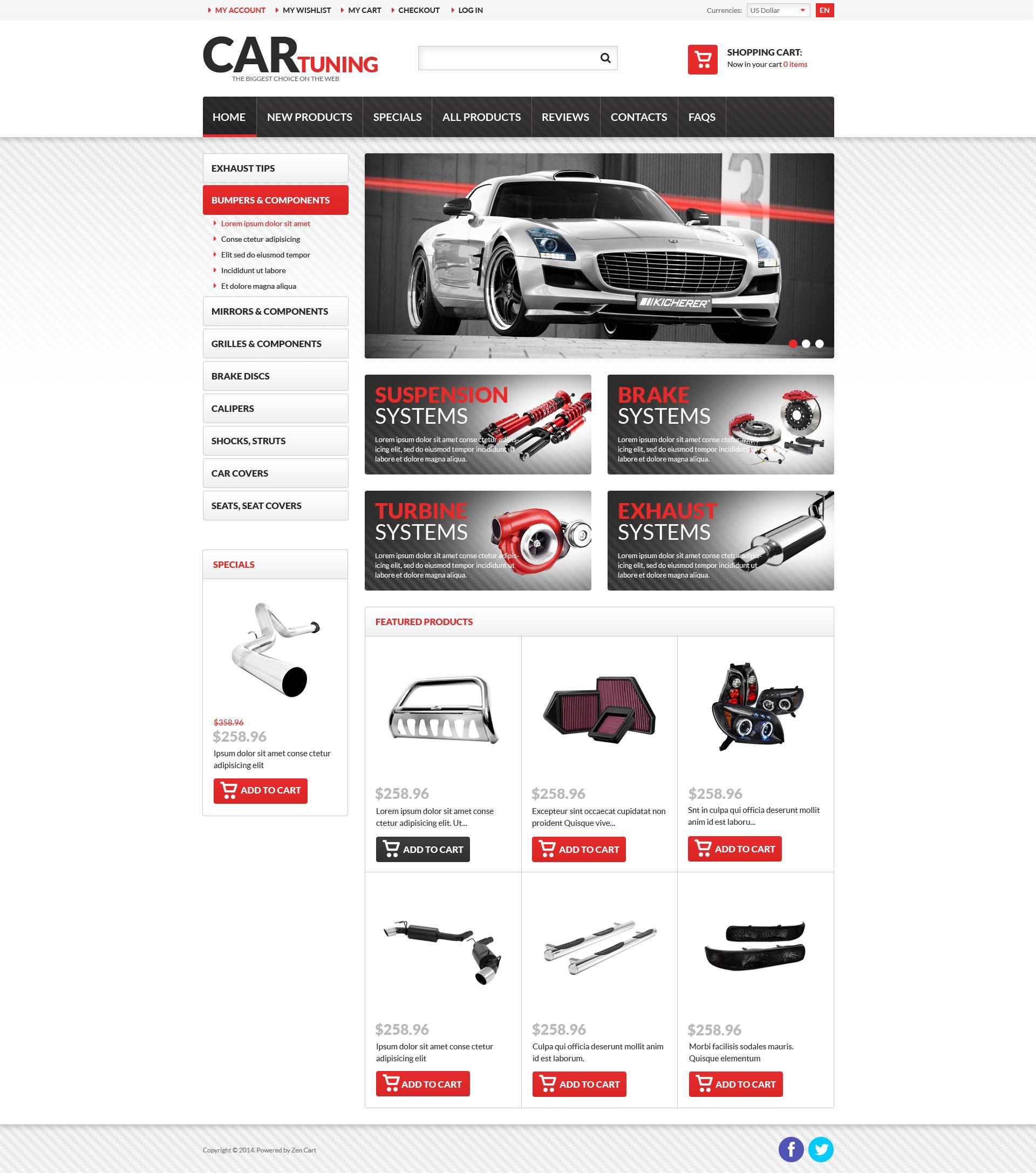 "Plantilla ZenCart ""Car Tuning"" #51242"