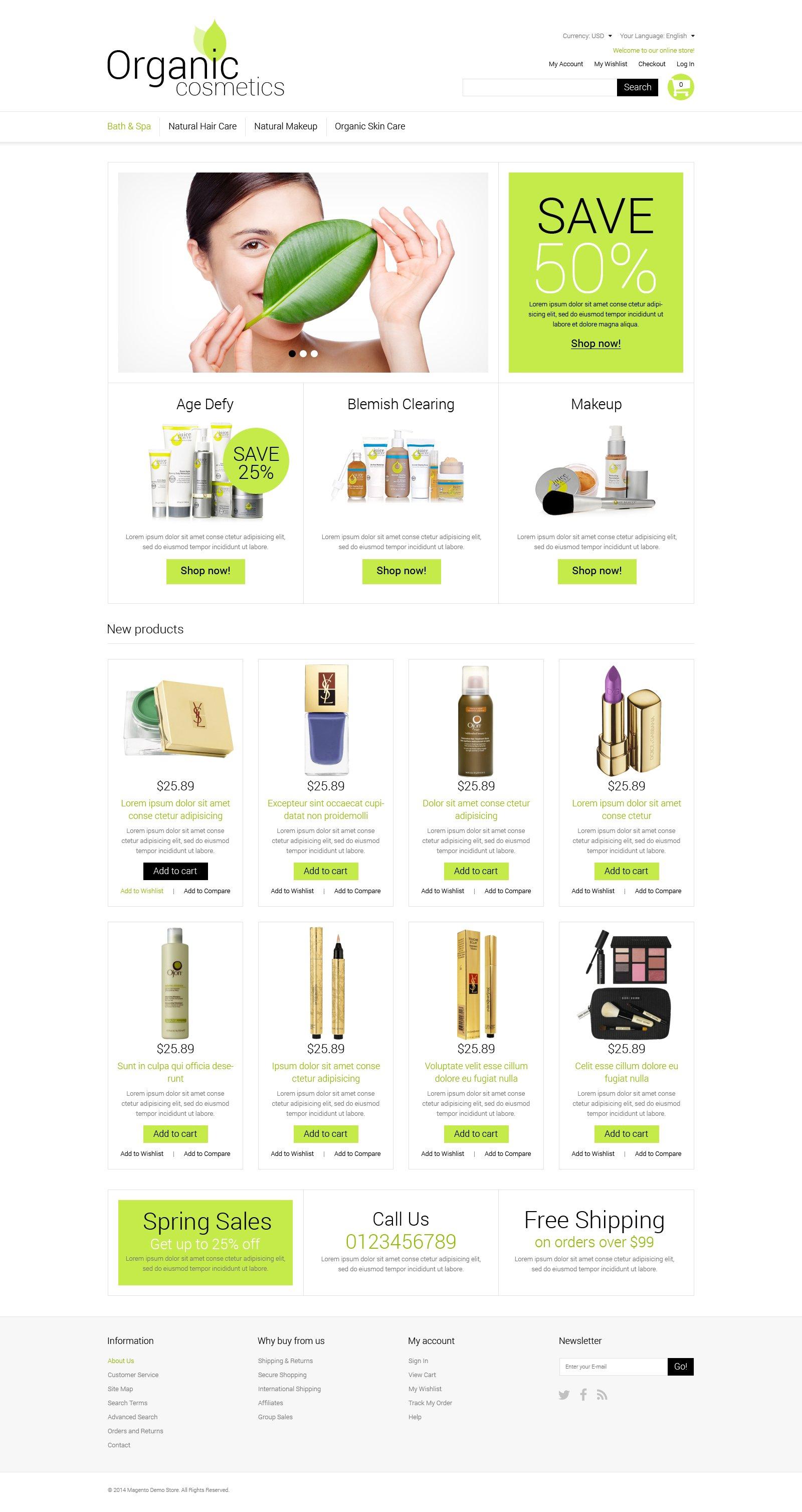 Responsive Organic Cosmetics Magento #51289