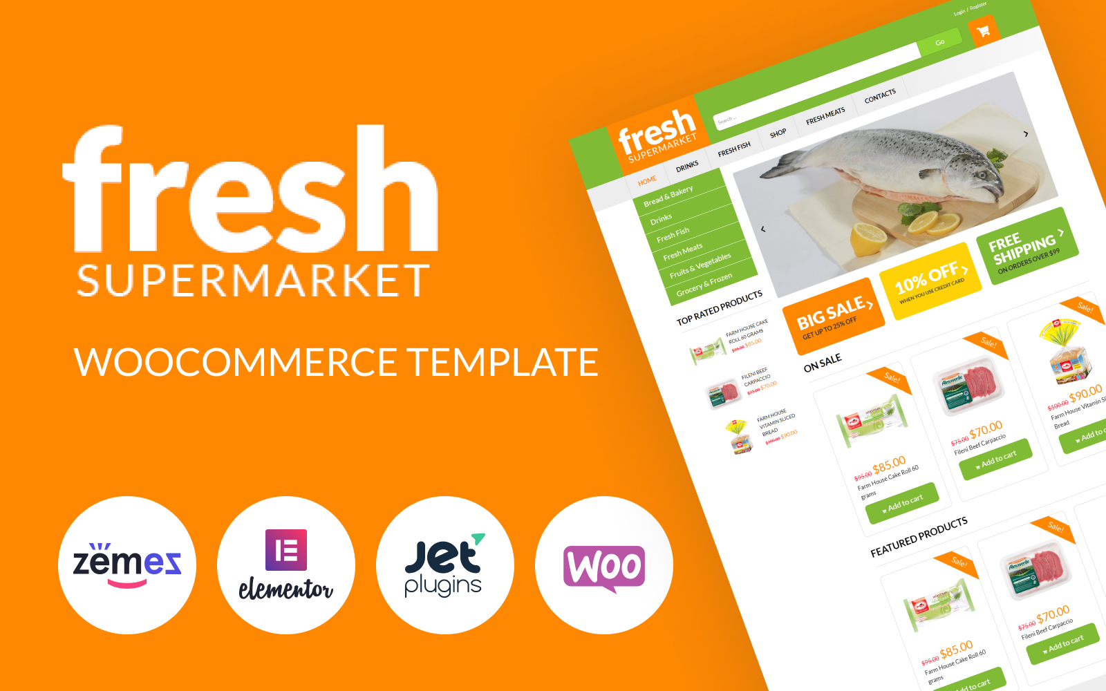 Responsivt Fresh Fresh -  Supermarket woocommerce template for easy sales WooCommerce-tema #51254