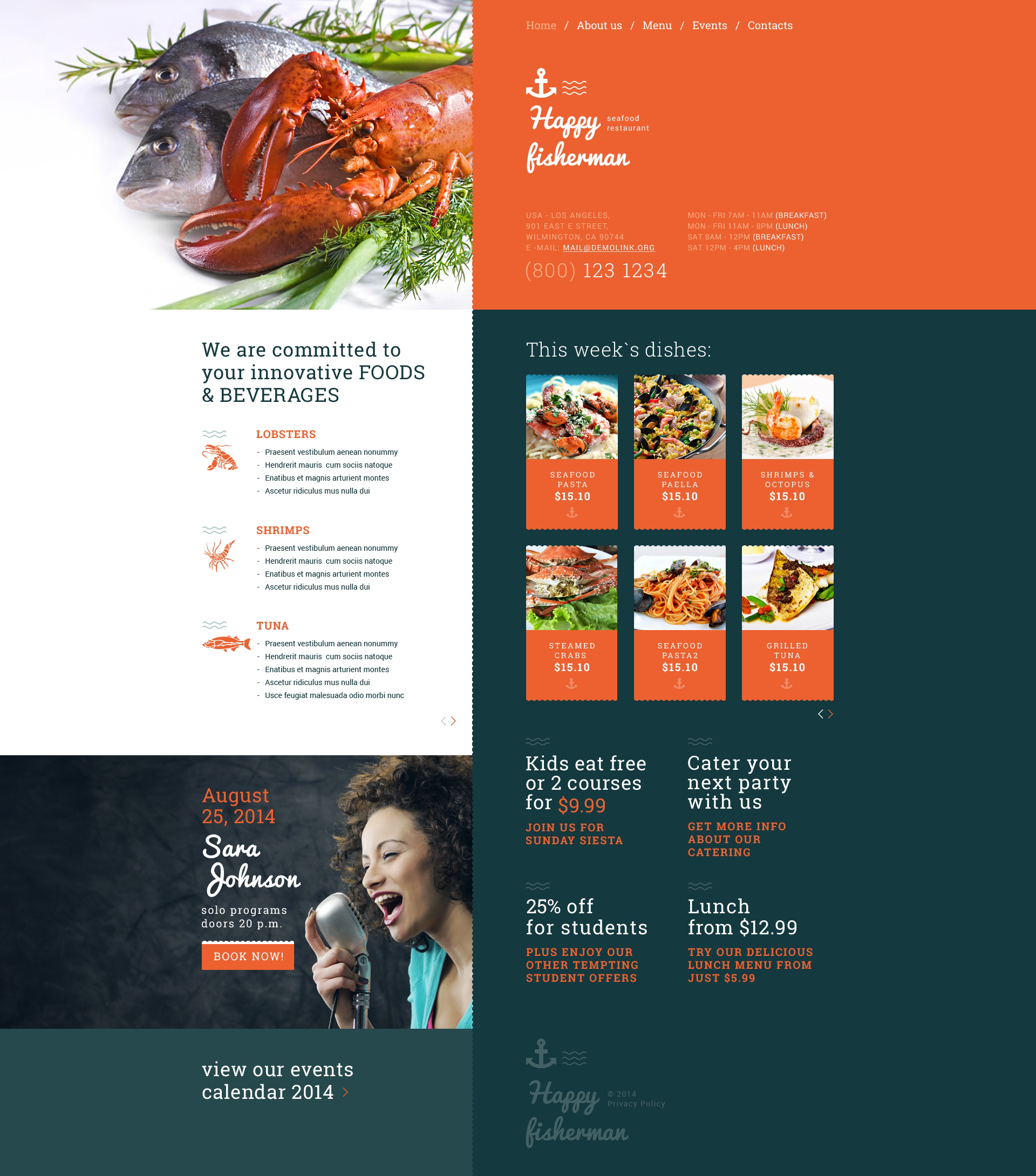 seafood restaurant responsive website template  51219