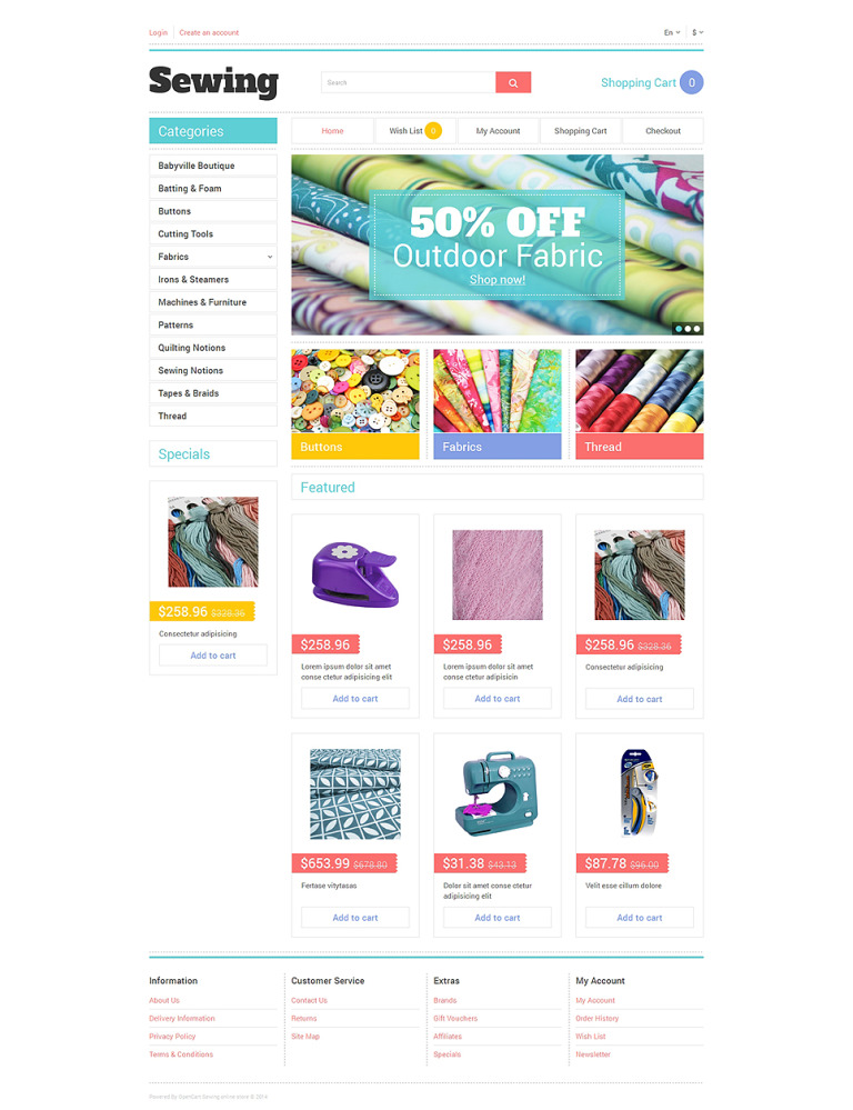 Sewing Tools OpenCart Template New Screenshots BIG