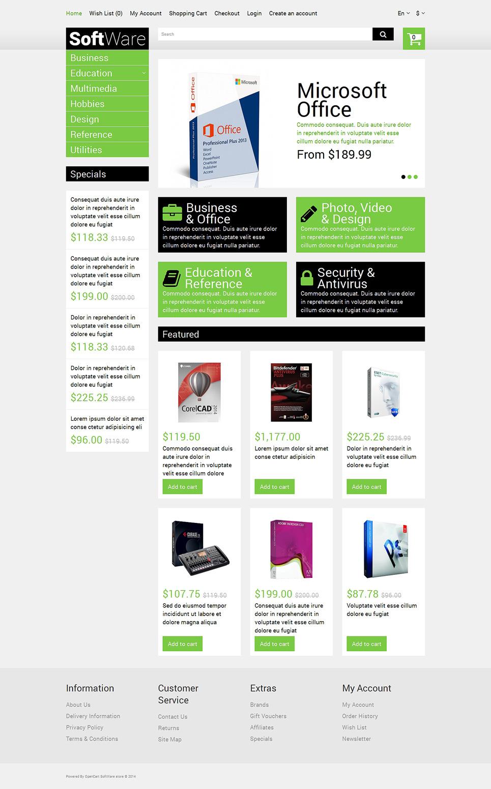 Software Store OpenCart Template New Screenshots BIG