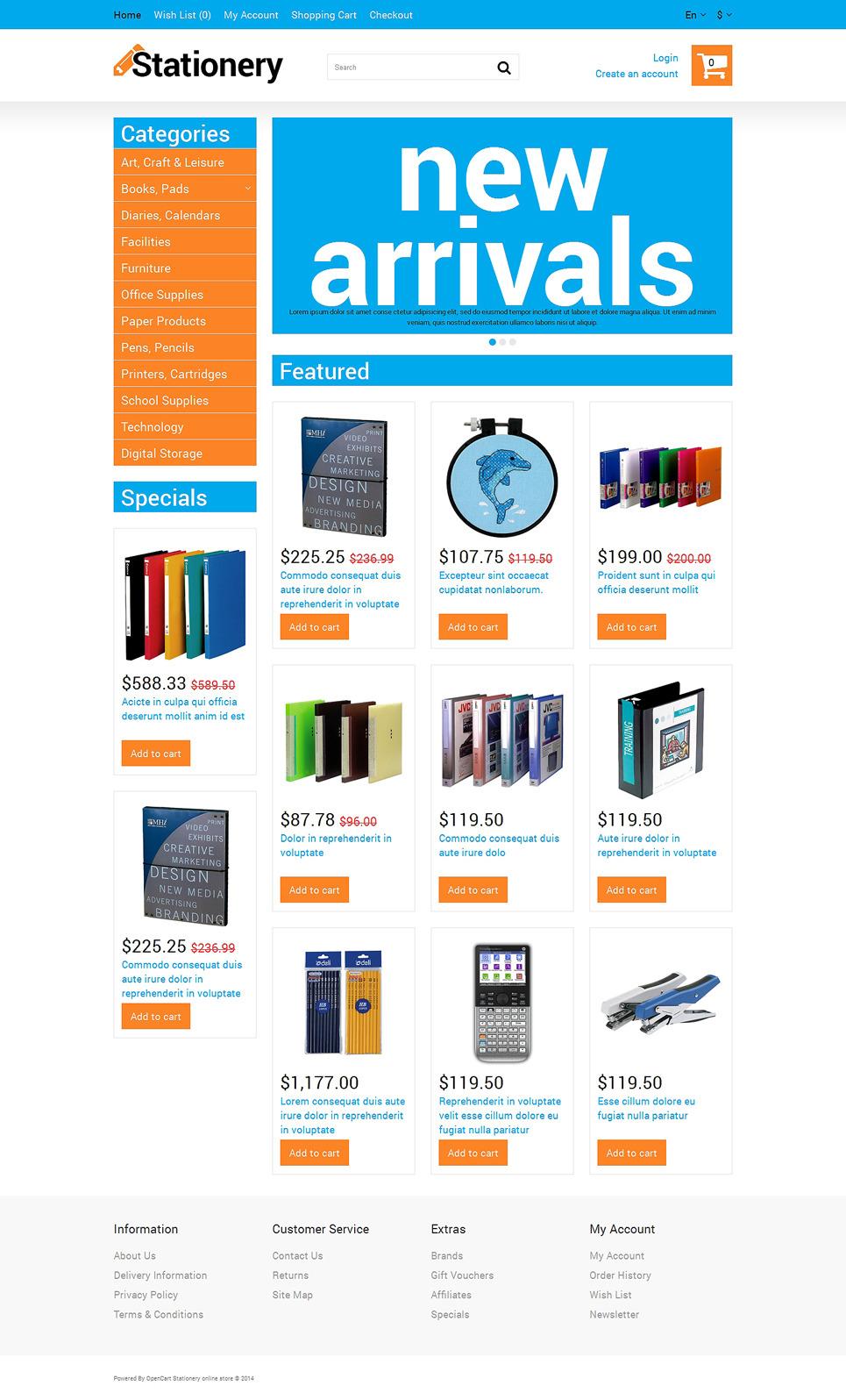 Stationery store OpenCart Template New Screenshots BIG