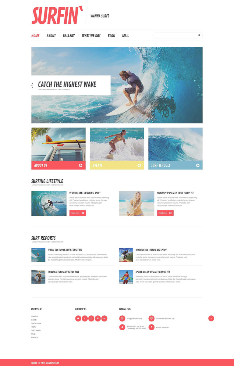 Surfing Responsive Website Template New Screenshots BIG