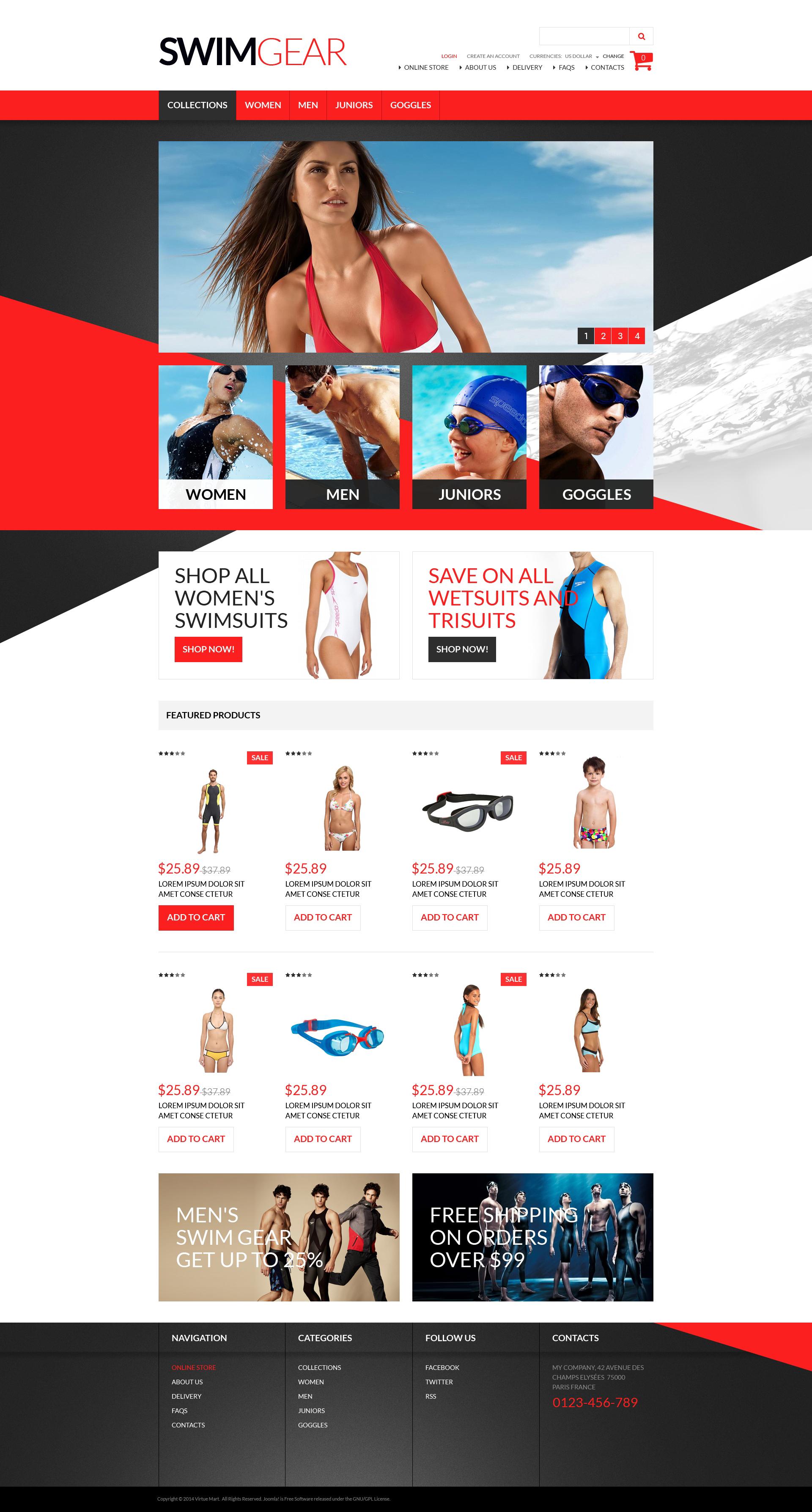 """""""Swimwear Gear"""" VirtueMart Template №51256"""