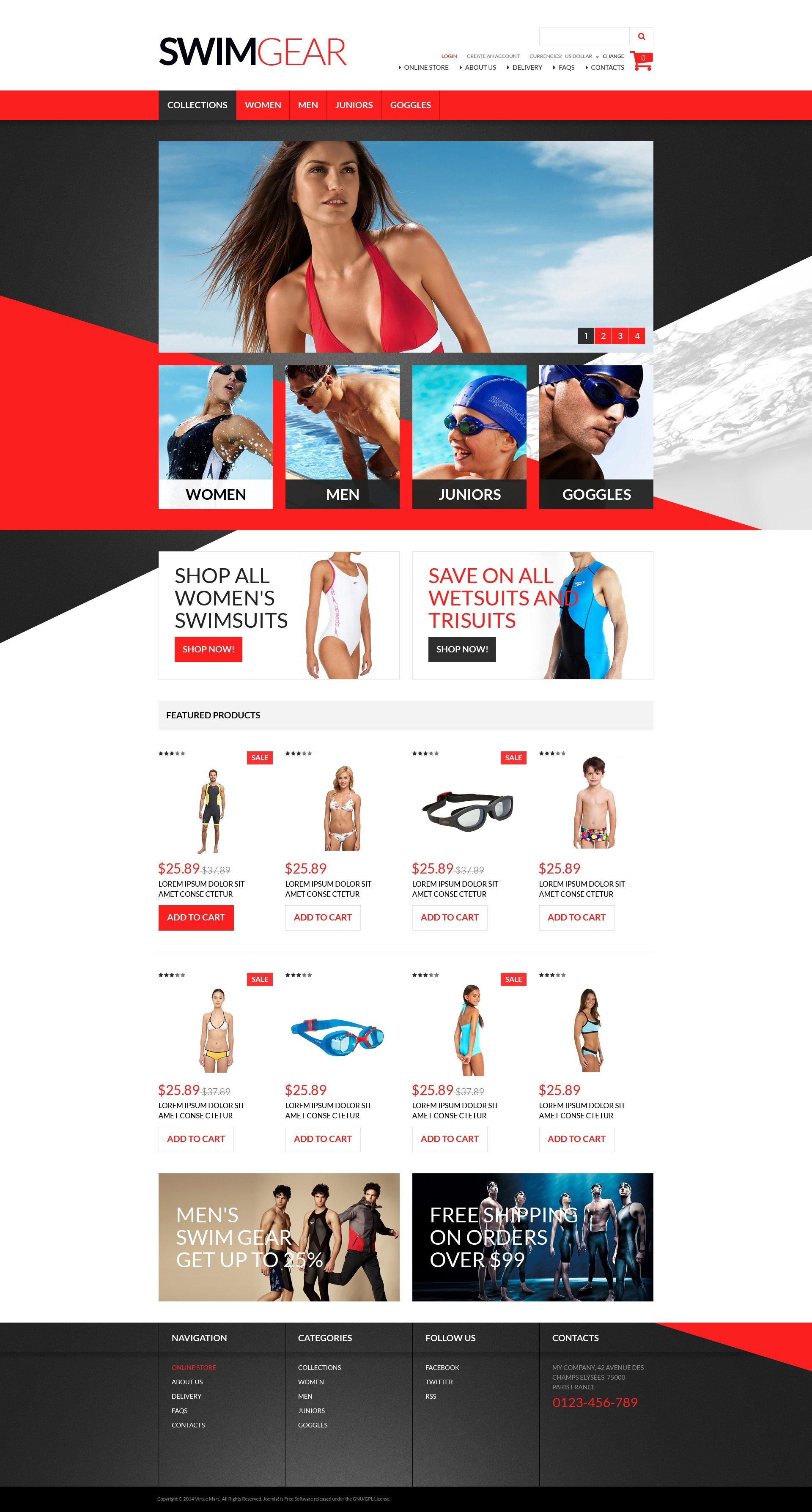 Swimwear Gear VirtueMart Template