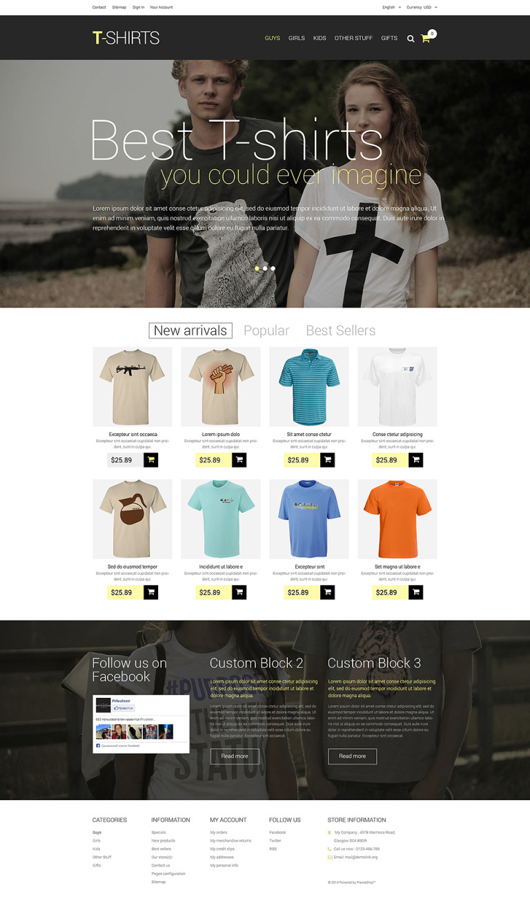 T-Shirts PrestaShop Theme New Screenshots BIG