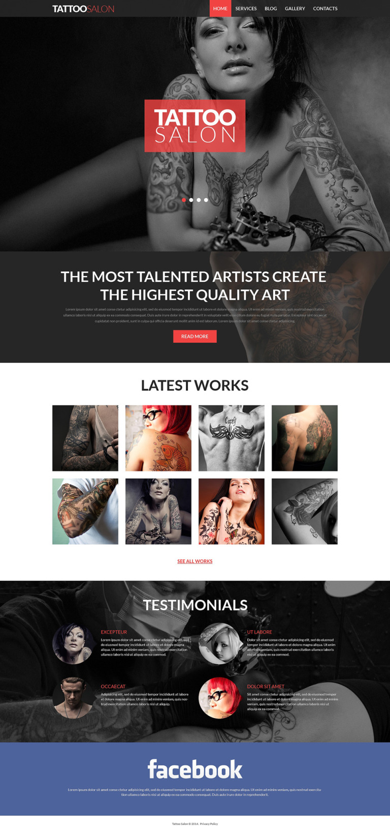 Tattooing Joomla Template New Screenshots BIG