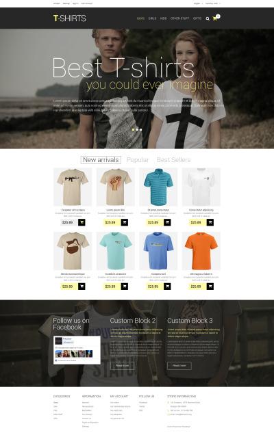 Responsive Tema De PrestaShop #51239 para Sitio de  para Tienda de Camisetas