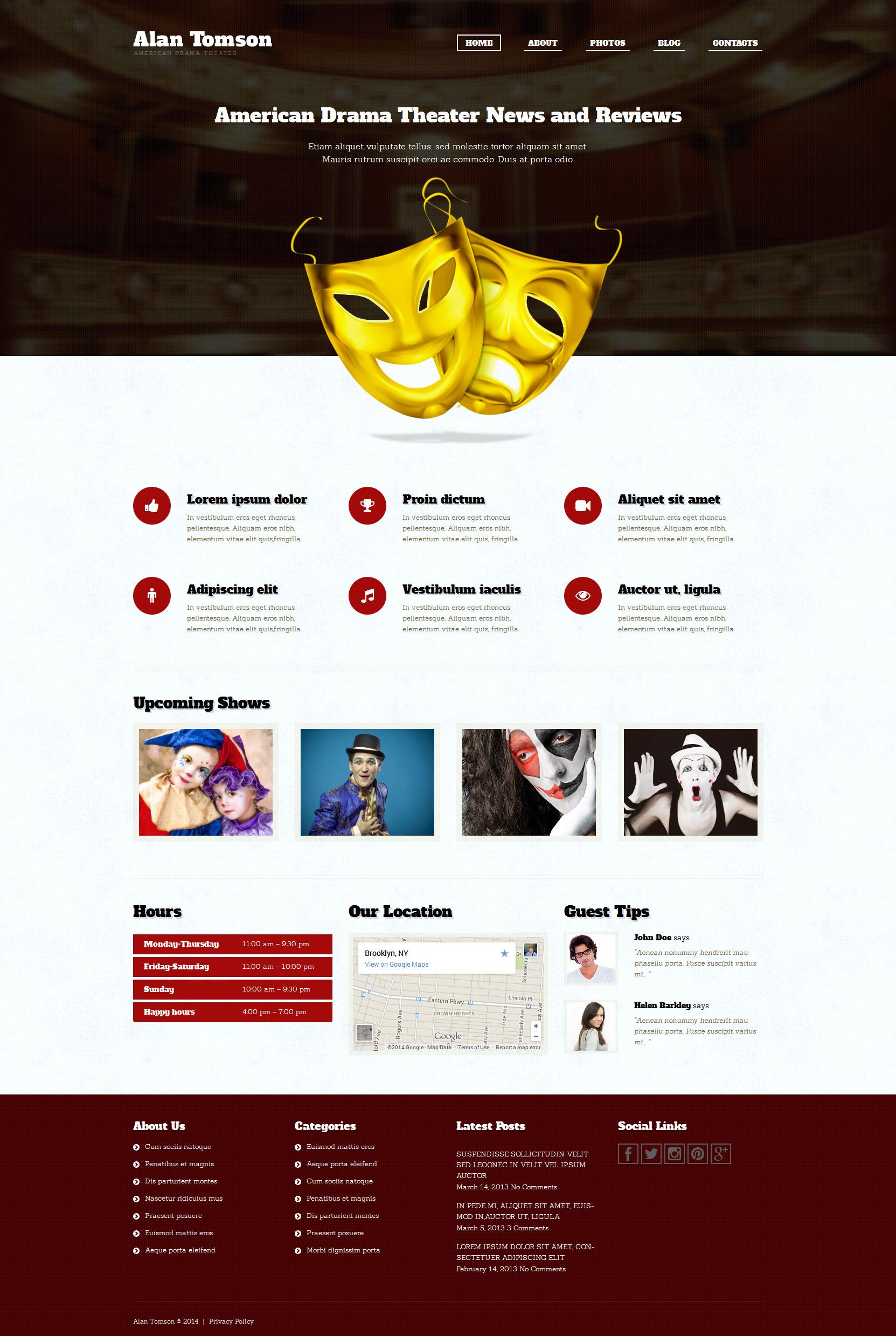 Tema De WordPress Responsive para Sitio de Teatro #51292 - captura de pantalla