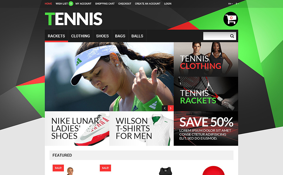 "Template OpenCart Responsive #51286 ""Negozio di Accessori Tennis"" New Screenshots BIG"