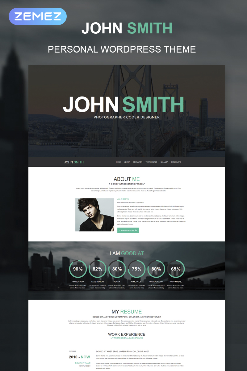 "Template WordPress Responsive #51241 ""Online CV"""