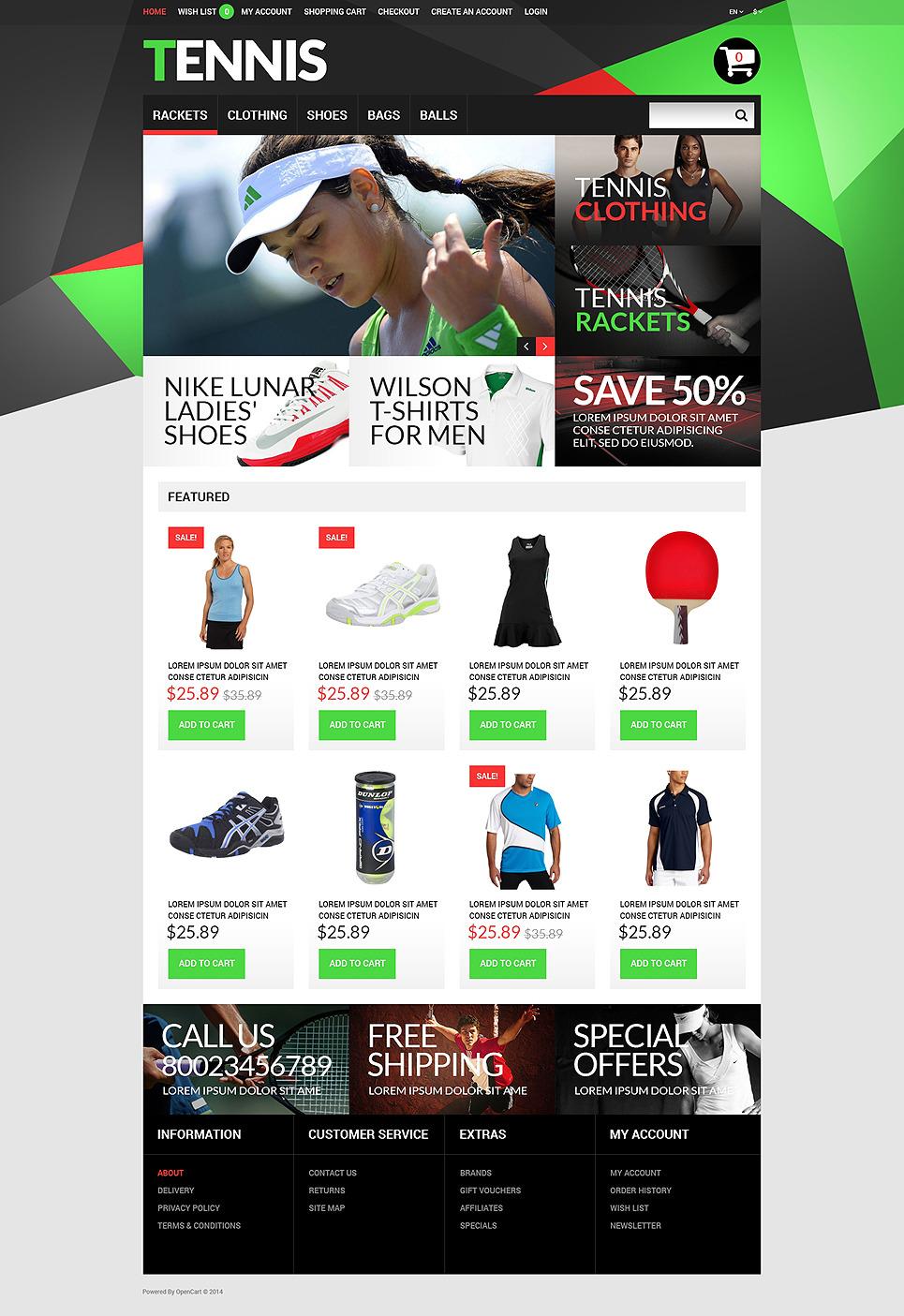 Tennis Accessories OpenCart Template New Screenshots BIG
