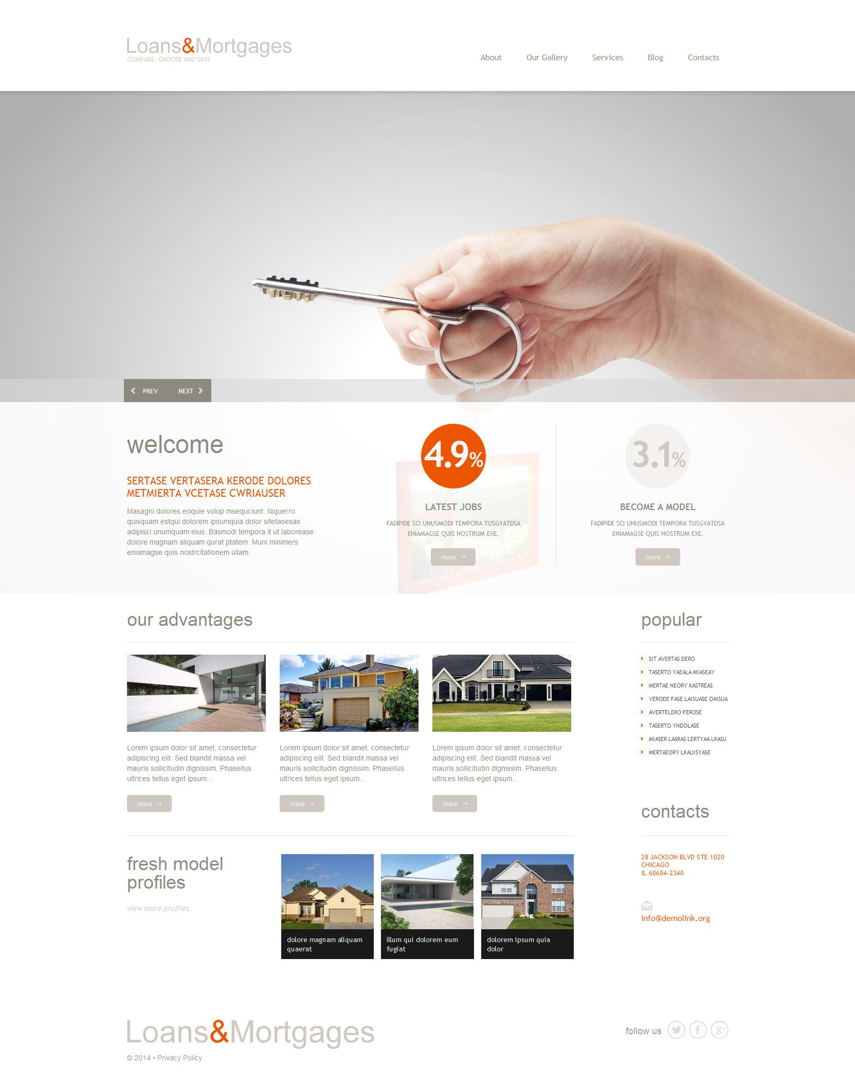 Thème WordPress adaptatif pour site de services hypothécaires #51299