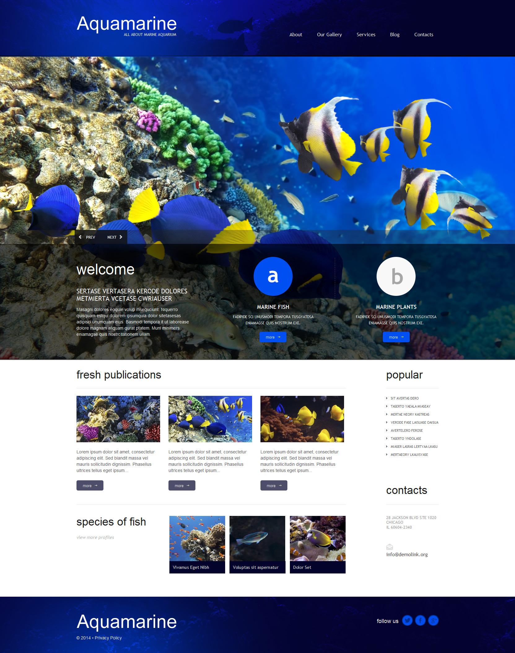Thème WordPress adaptatif pour sites de poissons #51296