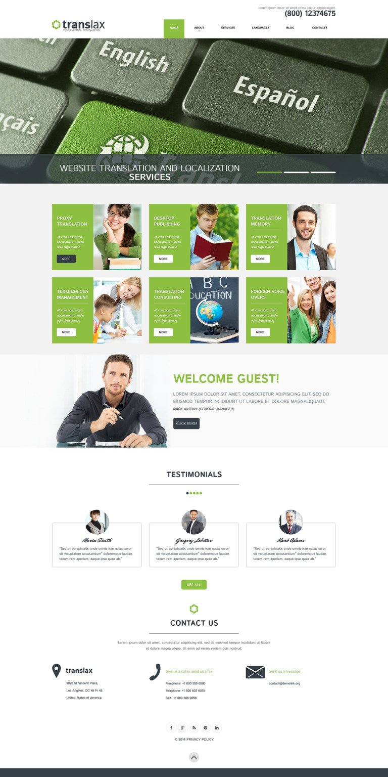 Translation Services WordPress Theme New Screenshots BIG