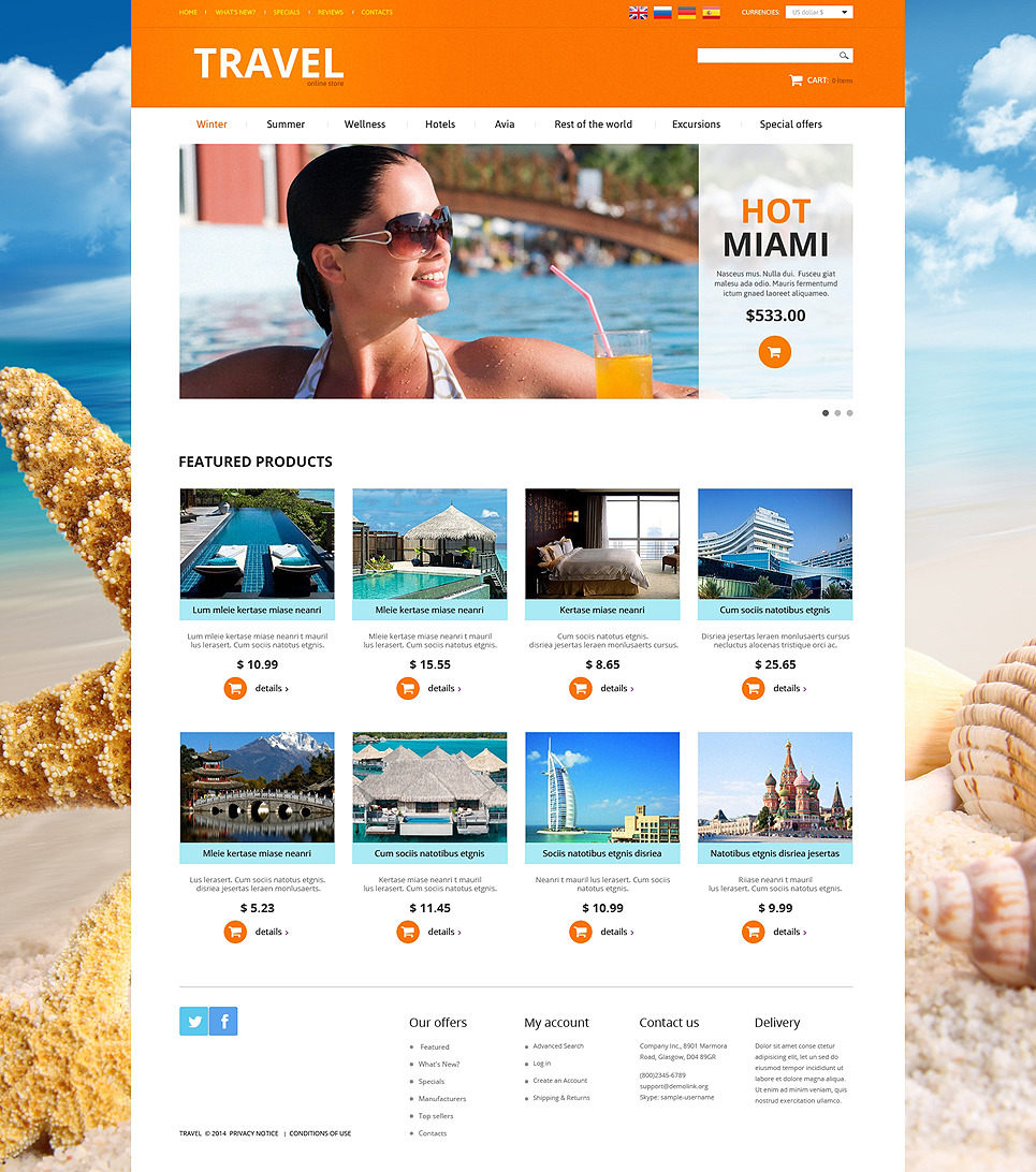 Travel Agency OsCommerce Template New Screenshots BIG