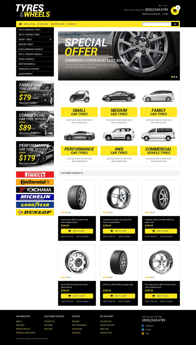 Wheels & Tires Responsive OpenCart Template New Screenshots BIG