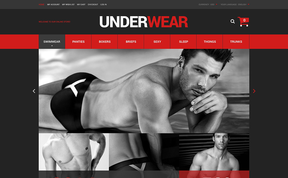 Responsive Men's Underwear Templates Magento Teması New Screenshots BIG