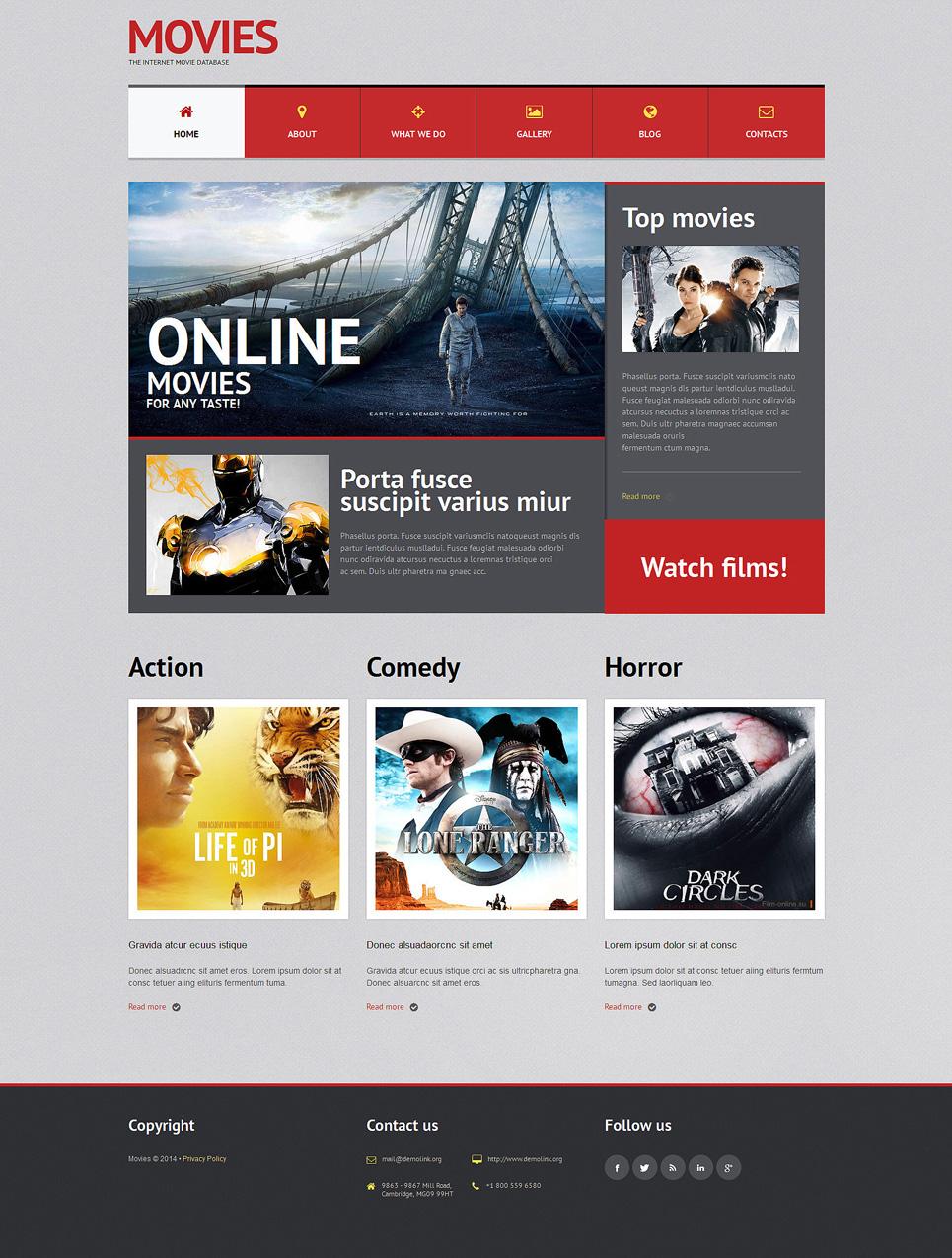 Адаптивный шаблон сайта на тему кино #51300