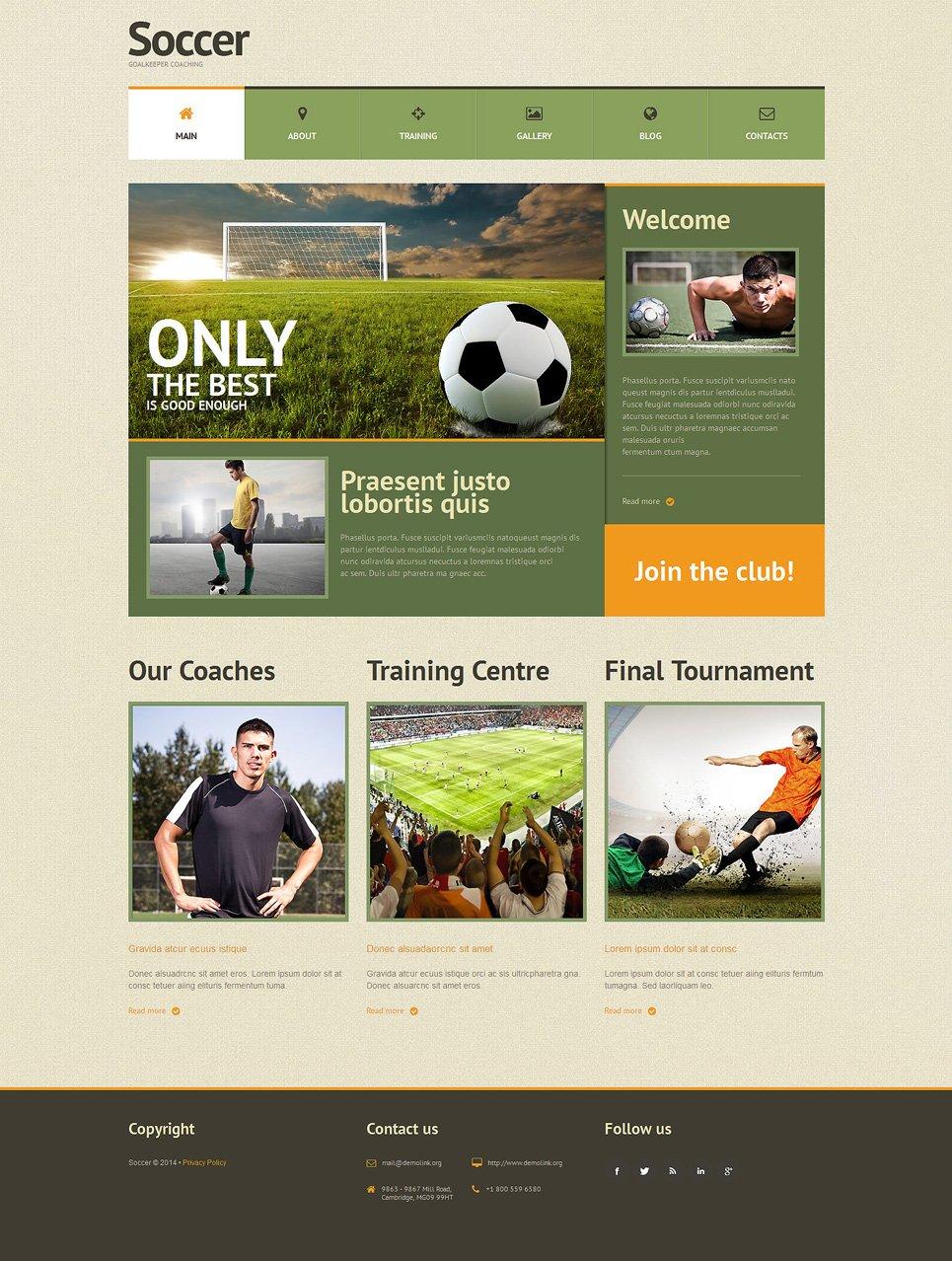 Адаптивный шаблон сайта на тему футбол #51301