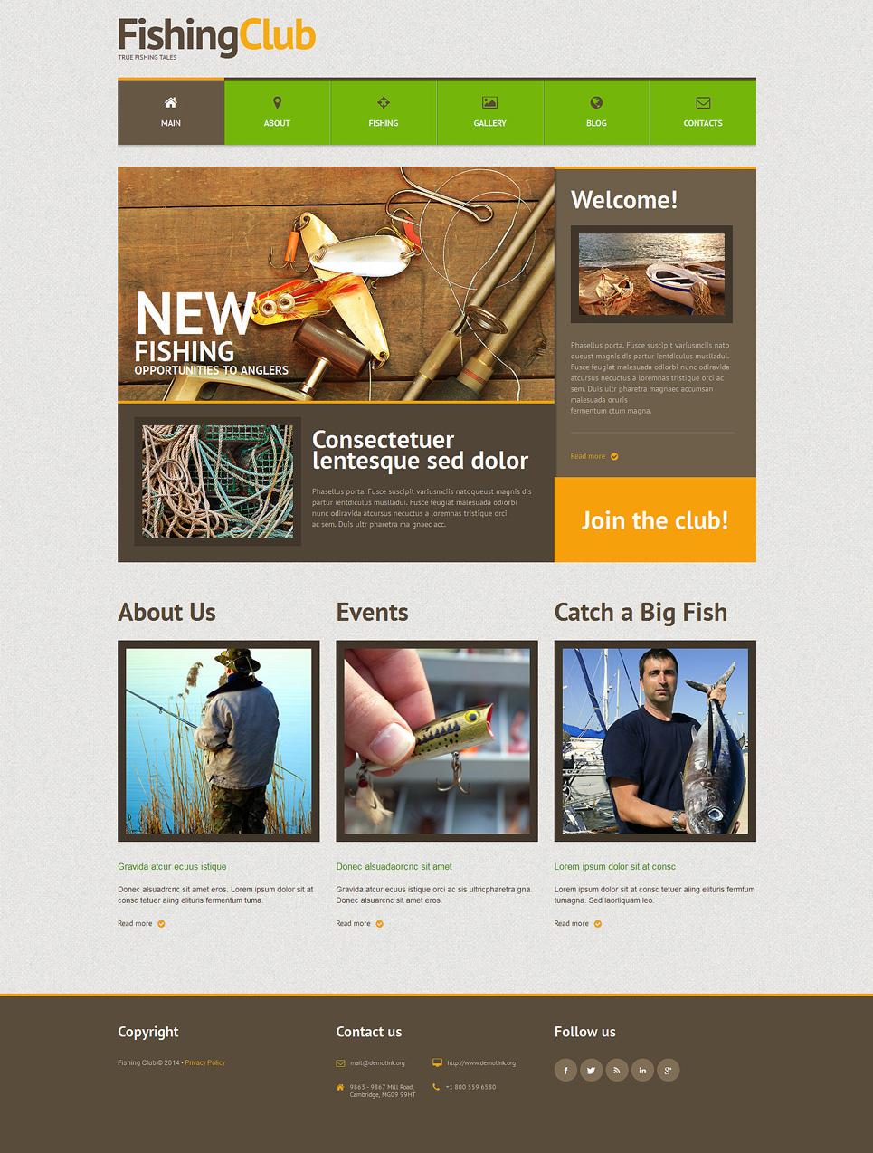 Адаптивный шаблон сайта на тему рыбалка #51303