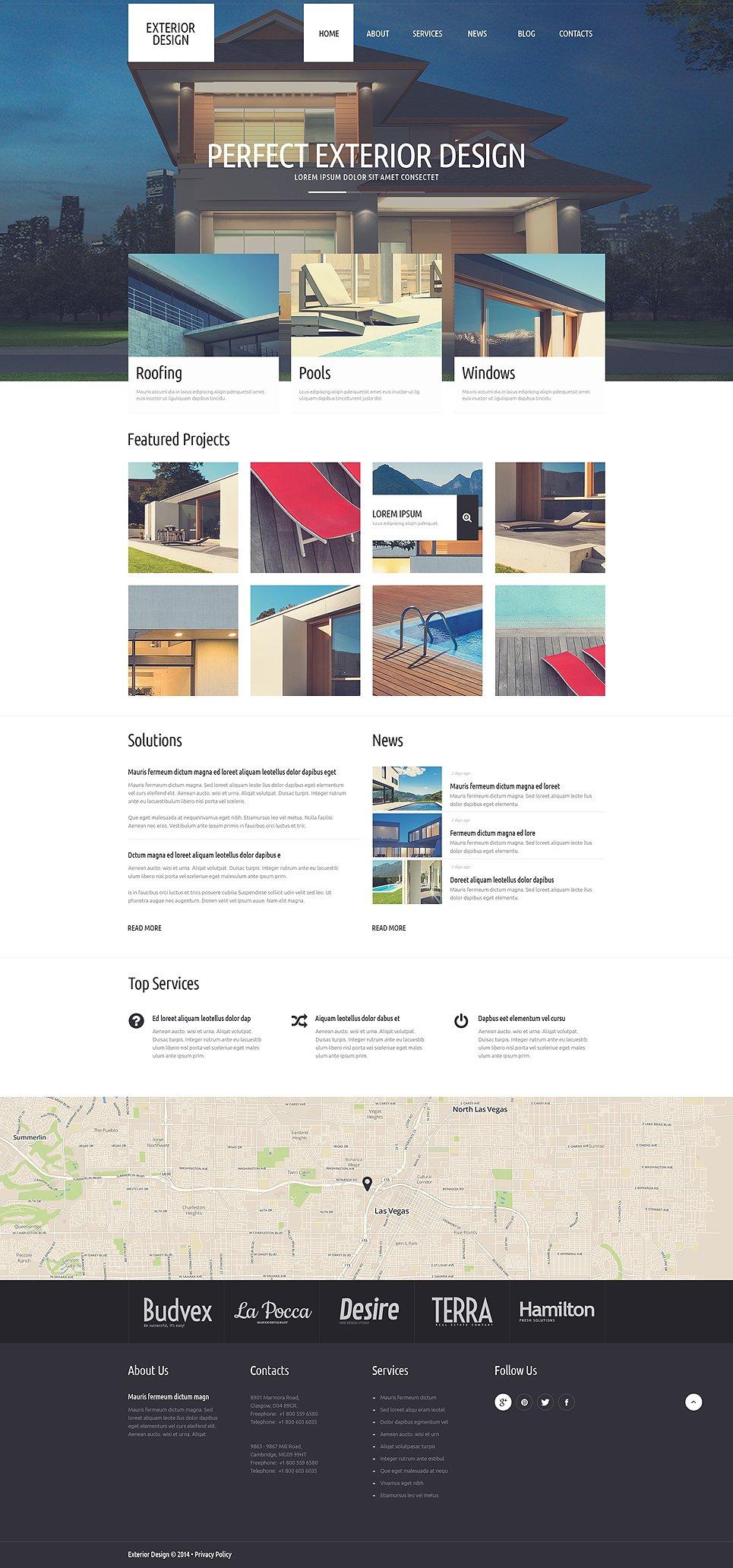 Адаптивный шаблон сайта на тему дизайн экстерьера #51306