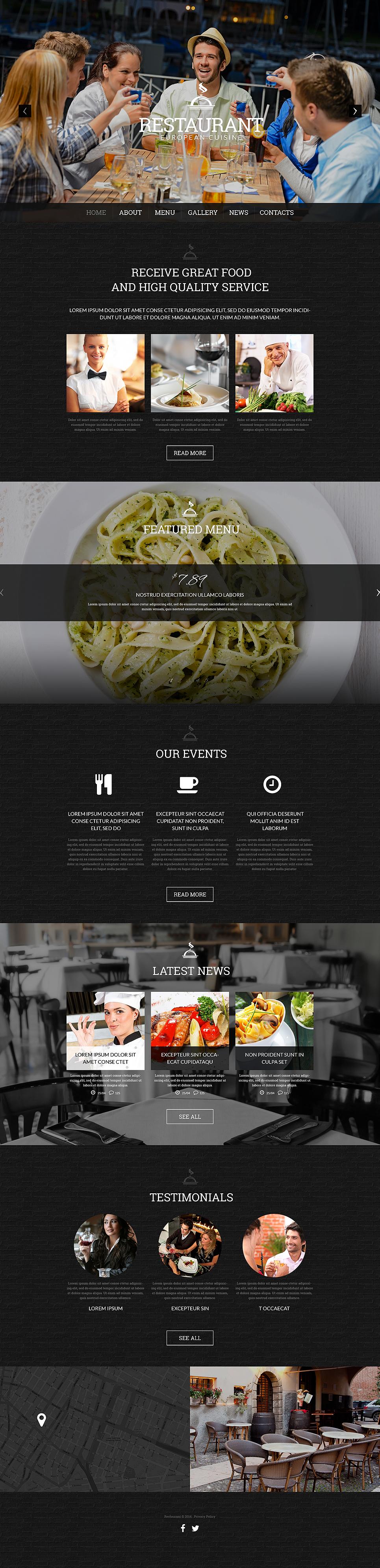 Адаптивный шаблон сайта на тему европейский ресторан #51323