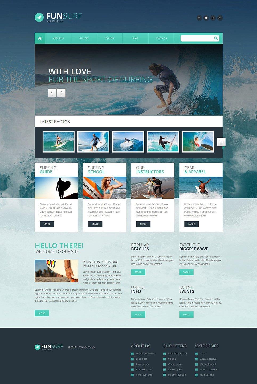 Адаптивный шаблон сайта на тему серфинг #51346