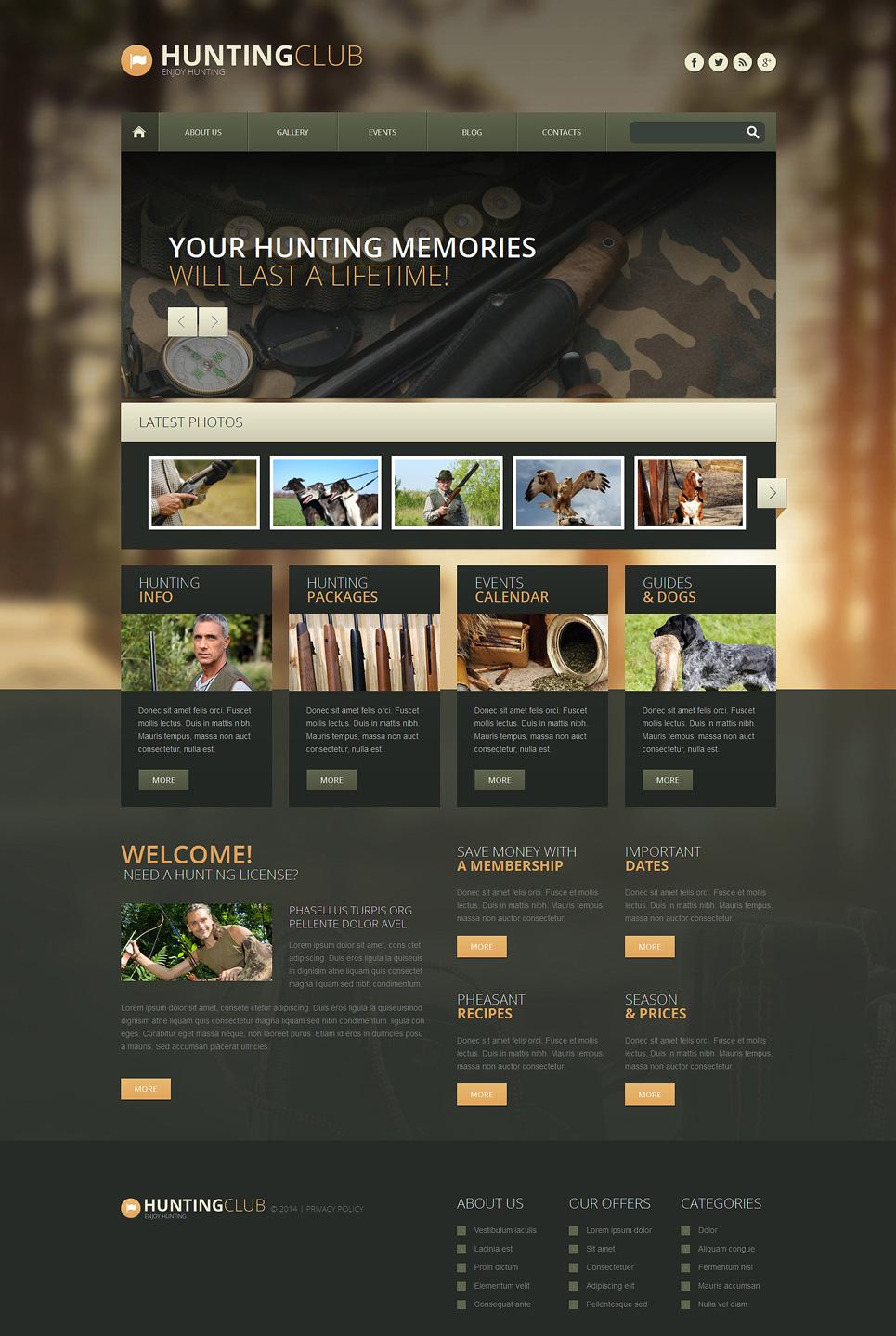 Адаптивный шаблон сайта на тему охота #51348