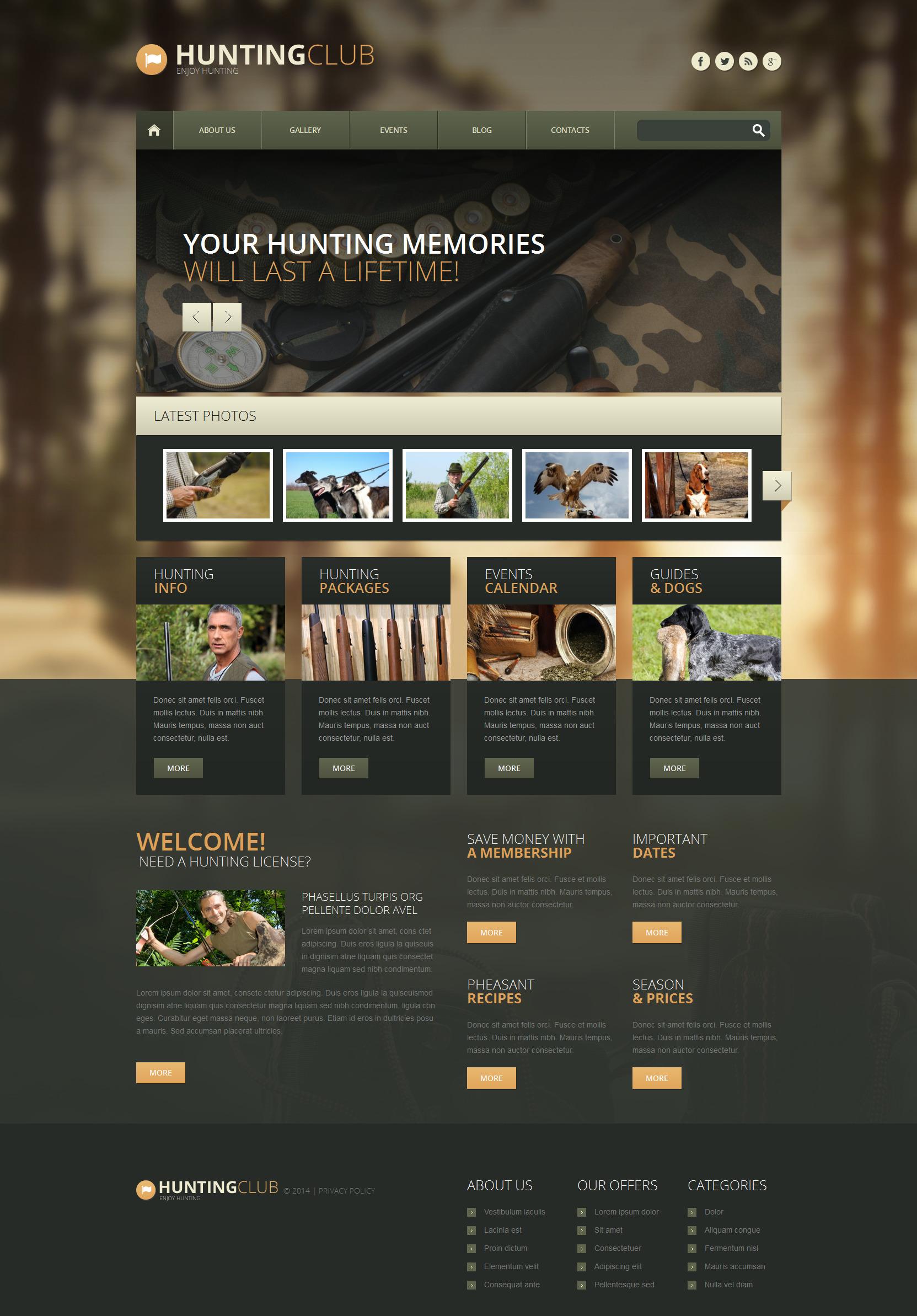 Адаптивный WordPress шаблон №51348 на тему охота