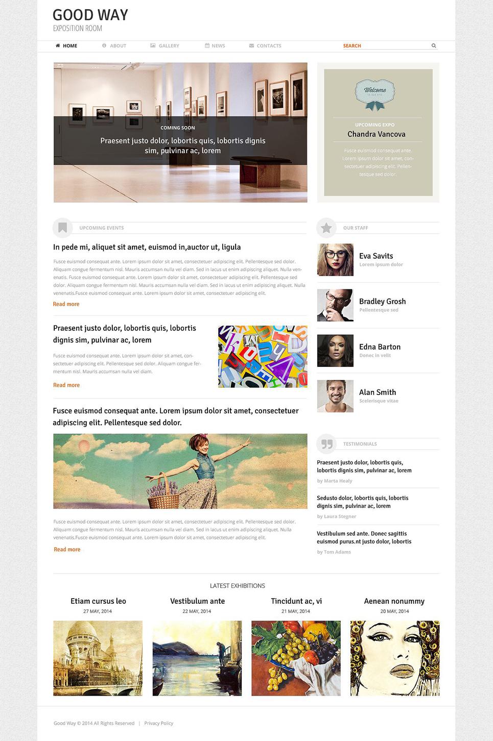 Адаптивный шаблон сайта на тему художественная галерея #51394