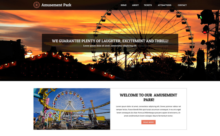 Amusement park website themes unlimited stock amusement park responsive website template pronofoot35fo Image collections